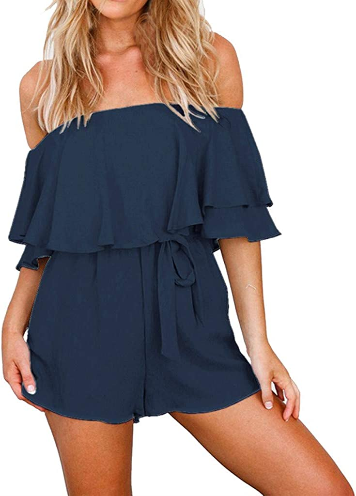 Sallymonday Fashion Women Solid Off Shoulder Half Sleeve Ruffles Bandage Short Jumpsuits