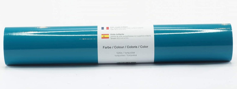 Lámina de plotter autoadhesiva lámina de vinilo 21 cm x 3 m brillo 39 colores a elegir, Glänzend L-Serie:Turquesa: Amazon.es: Hogar