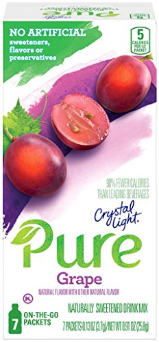 Crystal Light Pure On the Go Grape Drink Mix, 0.91 Ounce (Pack of 12)