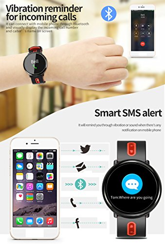 [2Band Steel&Silicone]Sport Fitness Tracker Smart Watch for Men Father Day Women IP67 Waterproof Heart Rate Blood Pressure Pedometer Sleep Monitor Activity Tracker Swim Run Outdoor iOS Android (Red) by GreaSmart (Image #5)