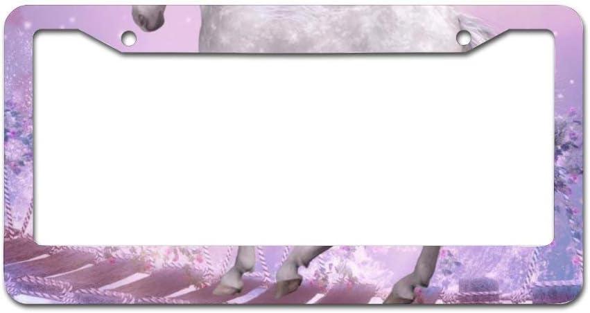 Mesllings - Marco para Placa de vehículo, diseño de Caballo Blanco con Fondo Rosa, 30,5 x 15,2 cm, se Adapta a Cualquier Coche, camión, SUV, RV o Remolque