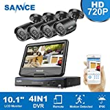 SANNCE 4-Channel 720P 10.1 LCD Monitor Security Camera System with (4) IP66 Weatherproof Night Vision Bullet Cameras, Remote Access in Mins Motion Detection Monitoring System(No HDD Included)