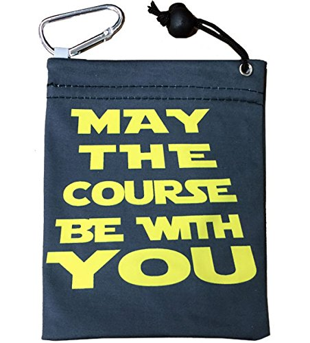 Giggle Golf Microfiber May The Course Be with You Tee Bag with Four Wood Tees