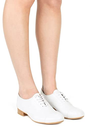 5b3ceb7368 Jeffrey Campbell Taps White Leather Cap Toe Lace Up Stacked Heel Oxford  Flats (7.5)