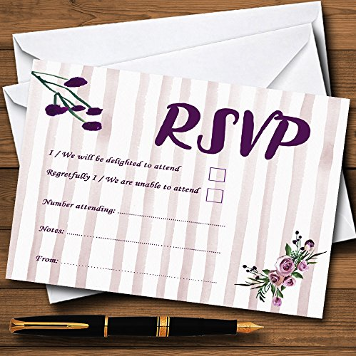Watercolour Stripes Purple Personalized RSVP Cards Stripes Rsvp Card