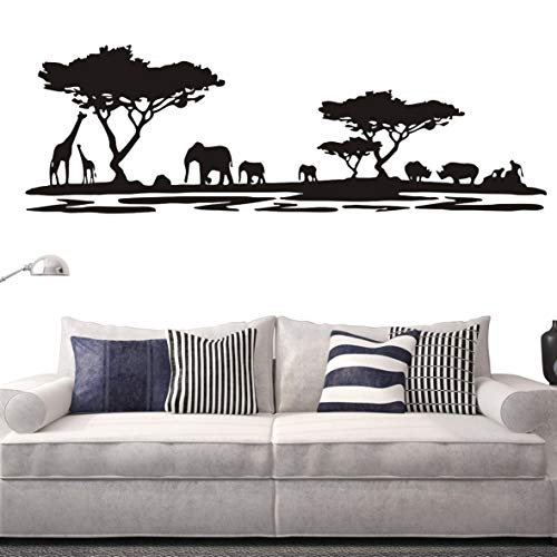 Safari Wall Decals - Safari Africa Forest Animal Wall Decal Removable Vinyl Home Decor Wall Sticker Living Room Sofa Background Decor Sticker Decoration Interior Mural NY-228 (Black, 42x130cm)
