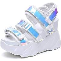 Zapatos de Sandalias Ligeras Ocasionales para Damas de Mujer Velcro Super Tacón Alto Summer Beach Punta Abierta Zapatos con Plataforma Suela de Goma Sandalias Deportivas Sandalias de Pu Sandalias par