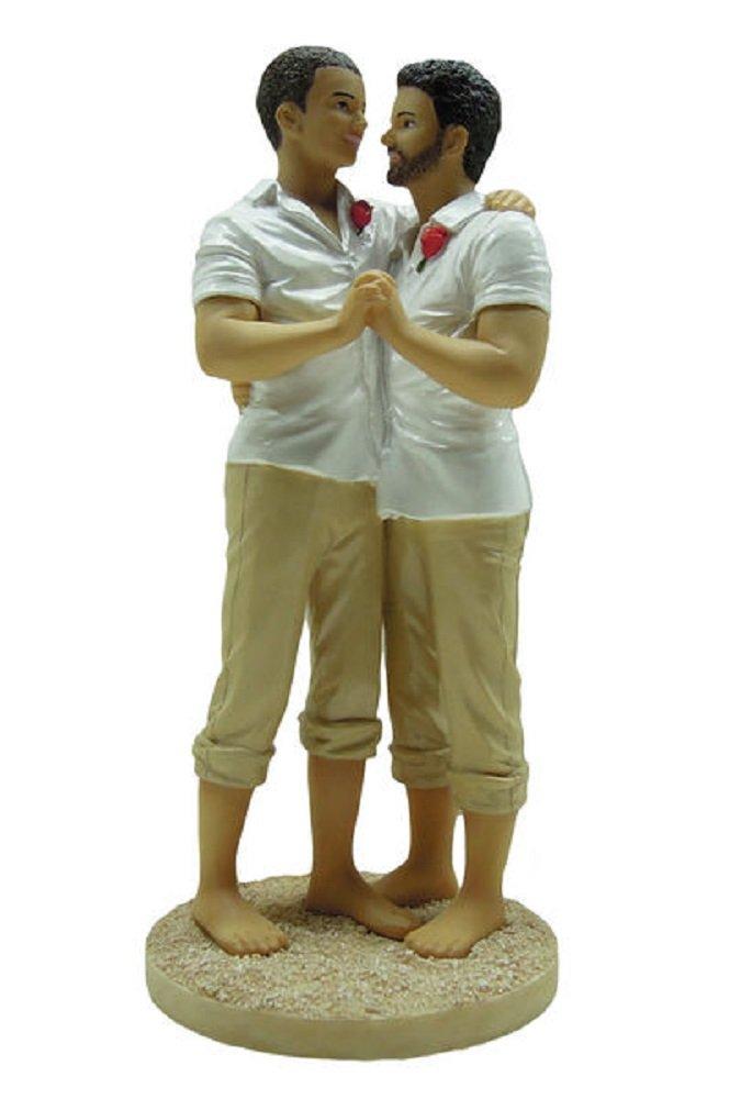 Gay beach wedding cake topper
