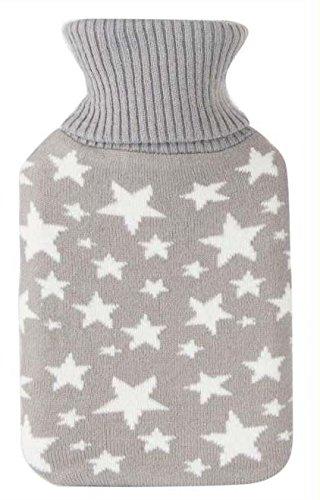 Bolsa de agua caliente de 1 litro con funda de poliester estrellas color gris con estrellas blancas Item Int