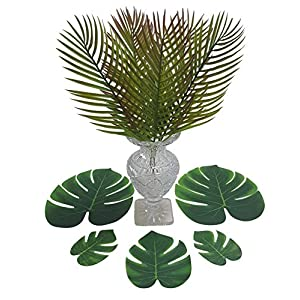 ShoppeWatch Artificial Palm Leaves with Stem and Tropical Monstera Fronds (48 Pcs) Philodendron Party Decorations Faux Palm Tree Plant Leaf Fake Imitation Ferns Branches Home Kitchen Plastic Decor 2