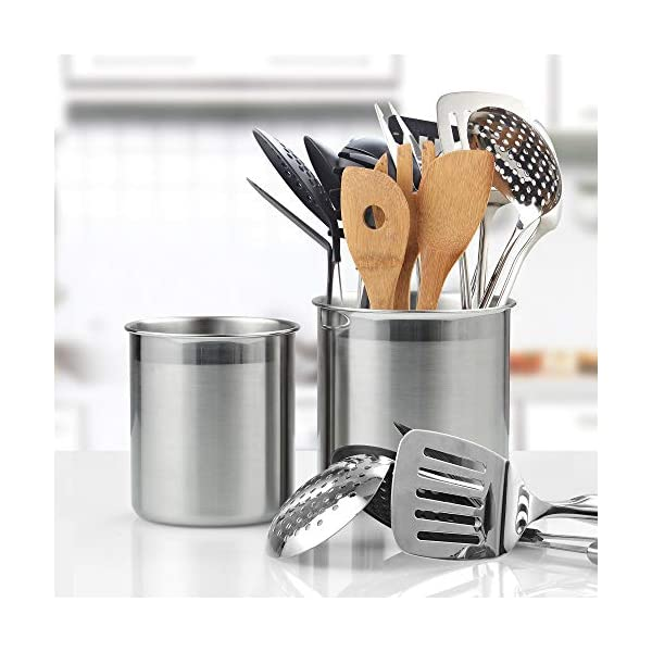 Cook N Home Stainless Steel Utensil Holder Jumbo 2PC set, 5.5-inch x 6.3-inch and 6.3-inch x 7.08-inch, Silver 2