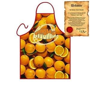 Postre Fruta Delantal: Naranja–Regalos cítricos Delantal Cumpleaños One Size, multicolor con Gratis Escrituras:)