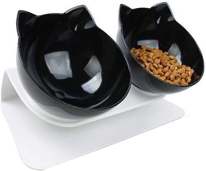 Love Dream Elevated Cat Bowls with Raised Stand, Pet Food Water Feeder Bowl, 15° Tilted Pet Bowl Stress-Free Suit for Cats Small Dogs