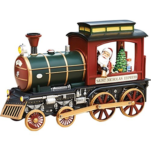 Roman Amusements Christmas Musical Lighted Rotating Santa Claus Saint Nicholas Express Train Figurine (Rotating Musical Figurine)