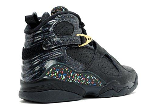 Jordan Luft 8 Retro Mens Basket Skor Svart / Metallisk Guld