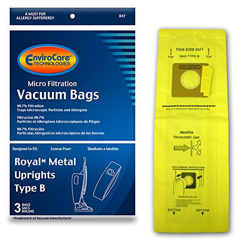 Royal Bag - EnviroCare Replacement Micro Filtration Vacuum Bags for Royal Upright Type B Uprights 3 pack