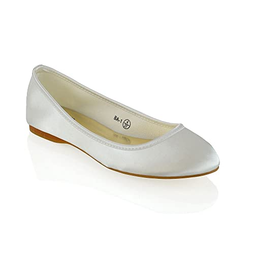 ESSEX GLAM New Womens Bridal Shoes Satin Flower Girl Ladies Wedding Prom Pumps Size 3-
