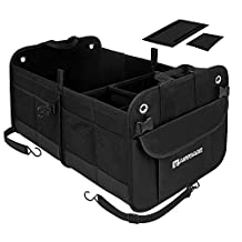 Autoark Multipurpose Car SUV Trunk Organizer with Straps,Durable Collapsible Cargo Storage,Waterproof Bottom With Strips & Rubber Foot Based to Prevent Sliding (New Version),AK-042