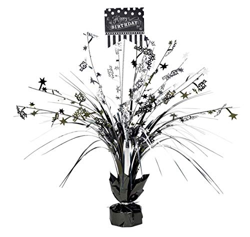 Amscan 110271 Classic Birthday Foil Spray Table Decoration Centerpiece, 1, Black and -