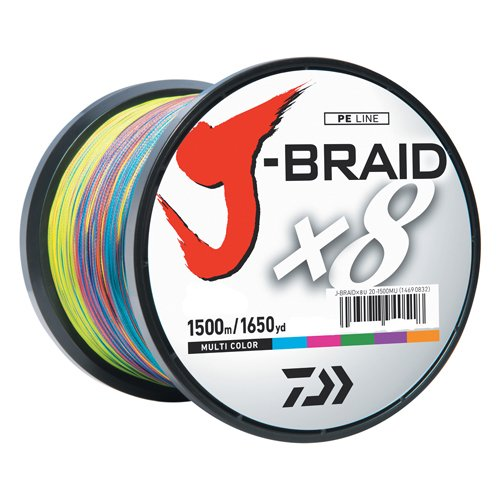 Daiwa Jb8u65-1500mu J-braid Braided Line, 65 Lbs Tested, 1650 Yd1500m Filler Spool, Multi Color