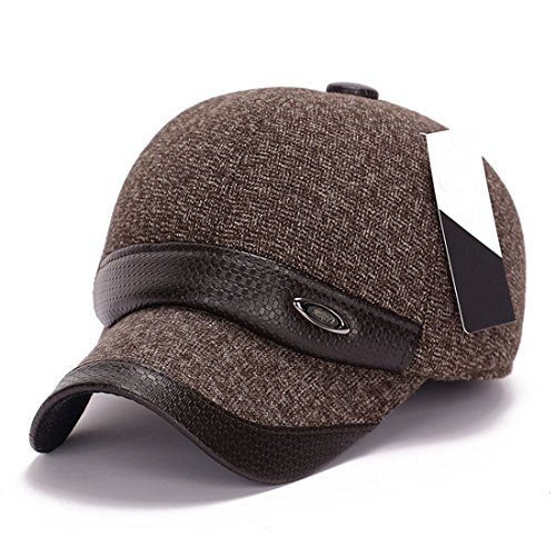 (King Star Men Flexfit Wool Leather Blend Plain Baseball Cap Hat Brown)