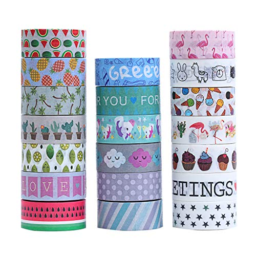 Large Product Image of 40 Rolls Washi Masking Tape Set, Decorative Adhesive Tape for Crafts,Beautify Bullet Journals,Planners