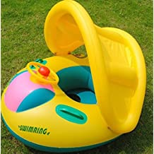 Inflatable Toddler Baby Toy Swim Ring Float Seat Swimming Pool Seat with Canopy. High Quality, for young children 1-3 years old. 10 Years Warranty from Premiumcheftools!