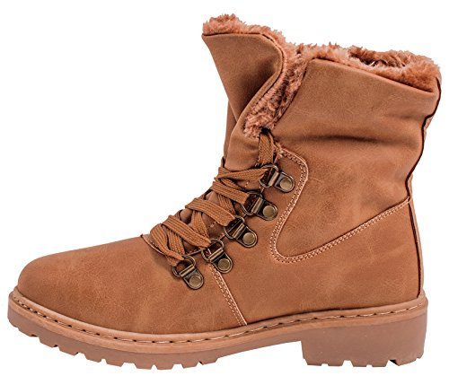 Elara Warm Lined Ladies Worker Boots | Comfortable Shoes | Leather Look Camel Fashion xaajPG