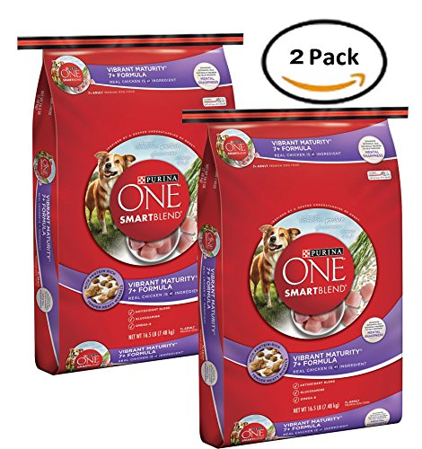 Pack of 2 - Purina ONE SmartBlend Vibrant Maturity 7+ Formula Adult Premium Dog Food 16.5 lb. Bag by Purina ONE