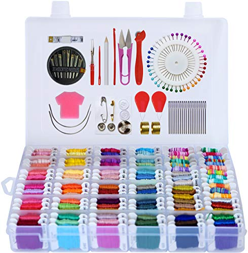 - Embroidery Floss 218pcs Embroidery Thread String Kits with Organizer Storage Box Included 108pcs Colorful Friendship Bracelets Floss with Number Stickers&Floss Bobbins &110 Pcs Cross Stitch Tool Kits