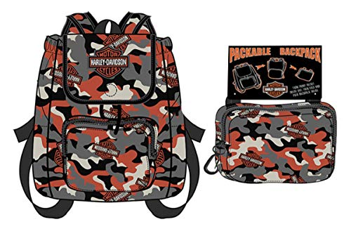 Harley-Davidson Boys Youth B&S Camo Print Packable Backpack (Harley Davidson Camo)