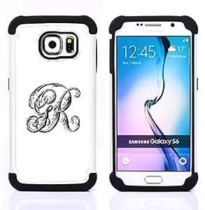 For Samsung Galaxy S6 G9200 - r G initials white calligraphy text letters Dual Layer caso de Shell HUELGA Impacto pata de cabra con im????genes gr????ficas Steam - Funny Shop -