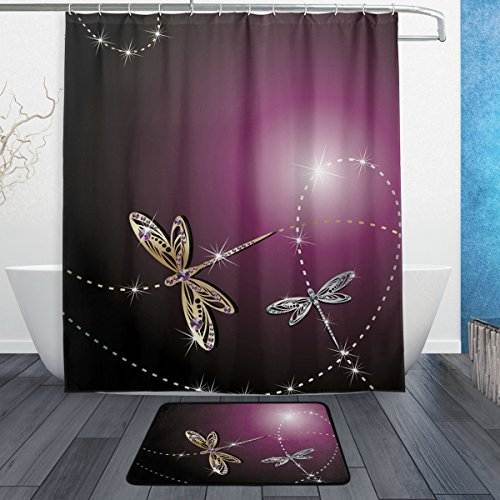 ALAZA Set of 2 Shiny Dragonfly 60 X 72 Inches Shower Curtain and Mat Set, Elegant Purple Background Waterproof Fabric Bathroom Curtain and Rug Set with Hooks