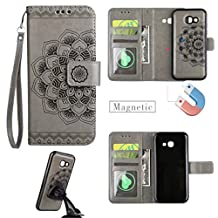 "Galaxy A5 2017 Case,Gift_Source [Card Slots] Premium Mandala Emboss PU Leather 2 in 1 Wallet Flip Folio Case Magnetic Detachable Back Cover & Wrist Strap for Samsung Galaxy A5 2017 5.2"" [Gray]"