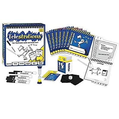 USAopoly Telestrations Party Pack 12 Player Party Game | #1 Party Game for all ages | Play with your friends and family | The fun game Telestrations with 600 new phrases to sketch | Learning Toys