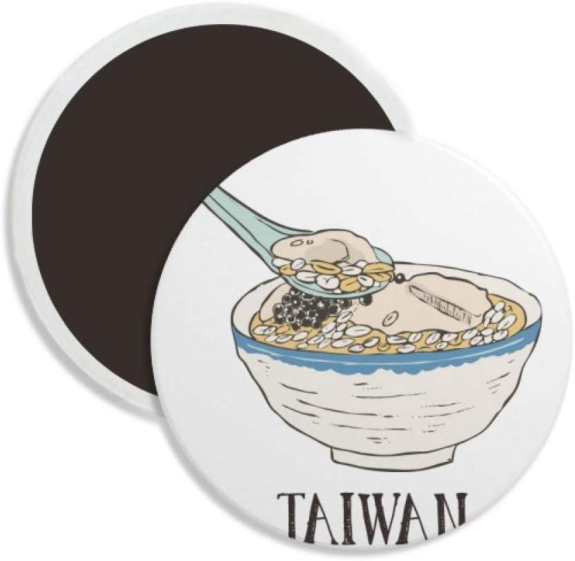 Cold Drink Ice Food Taiwan Round Ceramics Fridge Magnet Keepsake Decoration