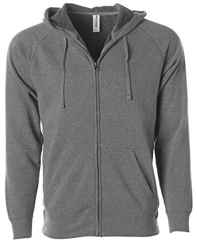 (Global Blank  Lightweight Zip Up Hoodies Men Extra Soft Fleece Hooded Sweatshirt,Nickel,Medium)