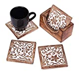 Wooden Set of 6 Square Coasters for Drink Tea Coffee Beer Wine Glass