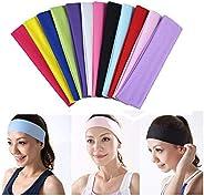 12 PCS Yoga Cotton Headbands, Stretch Elastic Headbands Non Slip Workout Sweatbands Sport Running Headbands fo