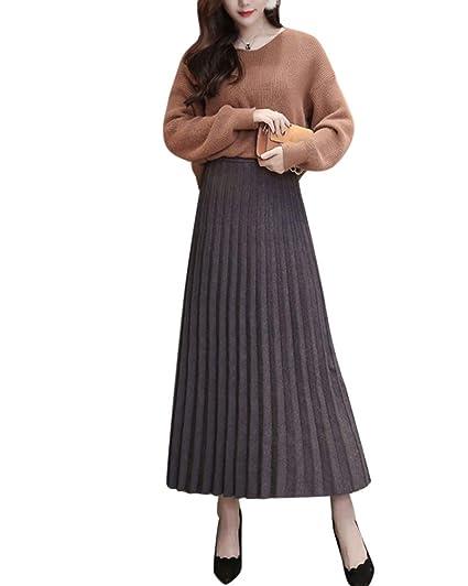 Mujer Falda Mid Larga De Cintura Alta Falda Tubo Estirarse Falda ...