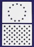 2 Pc- 5'' x 7'' -13 Star Revolutionary War & 50 Star Fields. Stencils