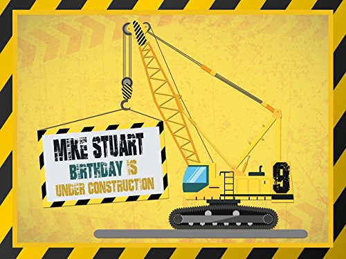Construction Machine Banner Decoration Birthday Party Poster with Crane - size 24x36, 48x24, 48x36; Birthday Banner Wall Décor, Handmade Party Supplies Poster Print 1000060 -