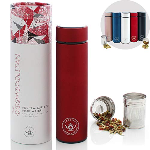 (Teabloom All-Purpose Beverage Flask / 16 o -480 ml/Brushed Metal Insulated Water Bottle/Tea Tumbler/Travel Bottle/Cold Brew Coffee Mug/Extra-Fine Two-Way Infuser/Ruby Red)