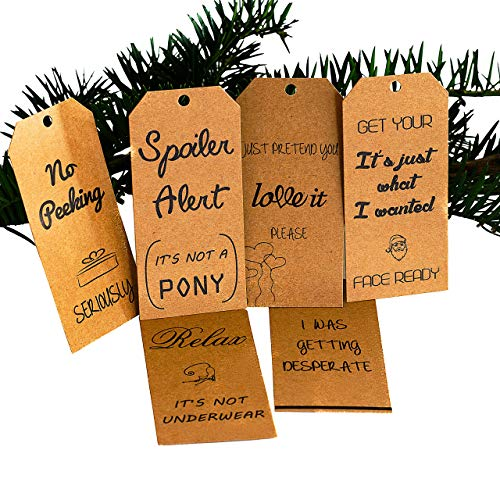 Funny Christmas Holiday Gift Tags - Unique Brown Eco-Friendly Kraft Paper Party Gift Twine Tag White Elephant Holiday Season, Xmas, Noel Fun Gifts. 24 pcs Includes Twine Strings