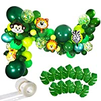 Jungle Party Balloons Garland Kit - 110pcs Latex Balloons Animal Foil Confetti Balloon Arch Palm Leaves Set for Jungle Theme Baby Shower Party Decorations, Safari Woodland Birthday Party Supplies