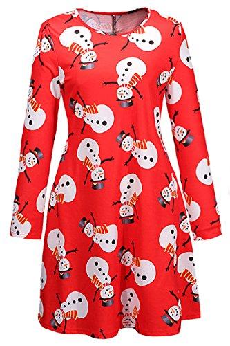 Herose Female Classic Festive Chubby Snowman Christmas Tree Mini Dress M (Chubby Snowman)
