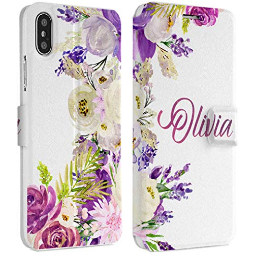 - Wonder Wild Purple Flora iPhone Wallet Case X/Xs Xs Max Xr Case 7/8 Plus 6/6s Plus Card Holder Accessories Smart Flip Hard Design Protection Cover Peonies Rose Fern Bouquet Gentle Your Custom Name