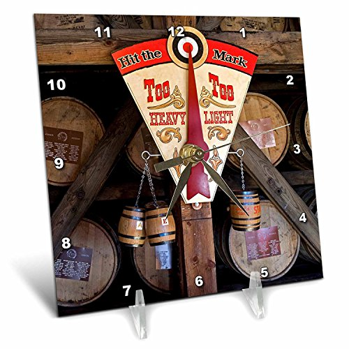 3dRose dc_90417_1 Kentucky, Makers Mark Bourbon in Wood Distillery - US18 LNO0001 - Luc Novovitch - Desk Clock, 6 by 6-Inch