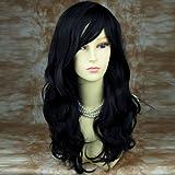 Welliges Wunderbar gewellt lang Haar Perücke–Schwarz