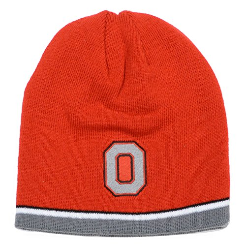 Ohio State Buckeyes J. America Red/ Grey Reversible Knit Hat (Ohio State Knit Hat)